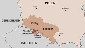 Die Grafschaft Glatz (dunkelrot). | Grafik: Eva Lotta Stein, Martin Schmitz
