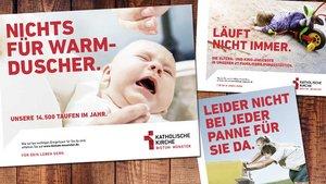 """Mit humorig gedachten Plakaten macht die neue Kampagne """"Für dein Leben gern"""" auf Angebote des Bistums Münster aufmerksam."""
