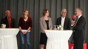 Lebhafte Diskussion (von links): Helmut Flötotto (Caritas), Kerstin Stegemann (BDKJ), Moderatorin Franziska Möller, Christoph Strässer (SPD) und Peter Neher (Caritas).