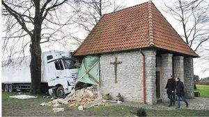 So sah es in den ersten Januartagen 2018 auf dem Schöppinger Berg aus, als ein Lkw in die Kapelle fuhr.