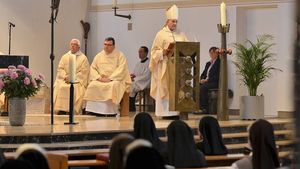 Messfeier zum Abschluss des Ordenstag mit Bischof Felix Genn in der Mutterhauskirche der Franziskanerinnen in Münster.