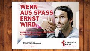 Ein Plakat der Bistums-Kampagne, das auf das Angebot von Schwangerschaftsberatung hinweist.