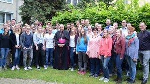 Weltjugendtagspilger aus dem Bistum Münster mit Bischof Felix Genn