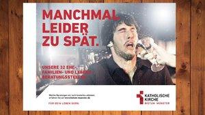 Dieses Plakat der neuen Kampagne macht auf die Ehe-, Familien- und Lebensberatungsstellen im Bistum Münster aufmerksam