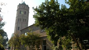 Markantes Zeichen von Stift Tilbeck bei Havixbeck: der von weitem sichtbare Wasserturm