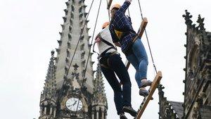 Hoch hinaus ging es 2016 beim Katholikentag in Leipzig. | Foto: Michael Bönte