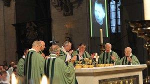 Kardinal Meisner mit den Konzelebranten