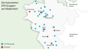 Karte: Diese KFD-Pfarrgruppen fusionieren am Niederrhein. | Grafik: Martin Schmitz