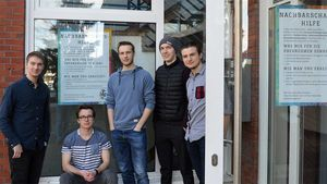 Studenten des Studentenheims Unitas Rolandia: Tom Bleckmann, Moritz Fiedler, Marco Reiche, Dennis Niehoff und Christian Lederer (v.l.).