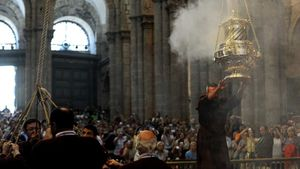 """Der """"Botafumeiro"""", das große Weihrauchfass in der Kathedrale von Santiago de Compostela."""