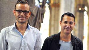 "Pastoraltheologe Marius Stelzer (li.) und DJ Jaspa Jones von ""Blank & Jones""."
