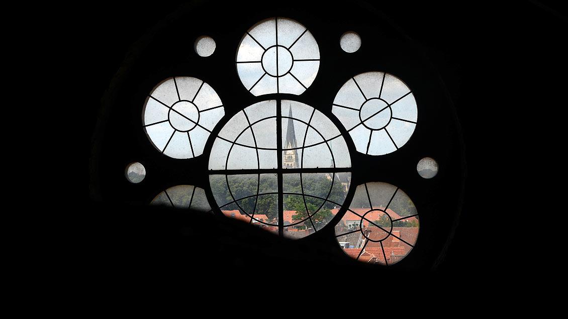 Blick in Richtung der Heilig-Kreuz-Kirche.