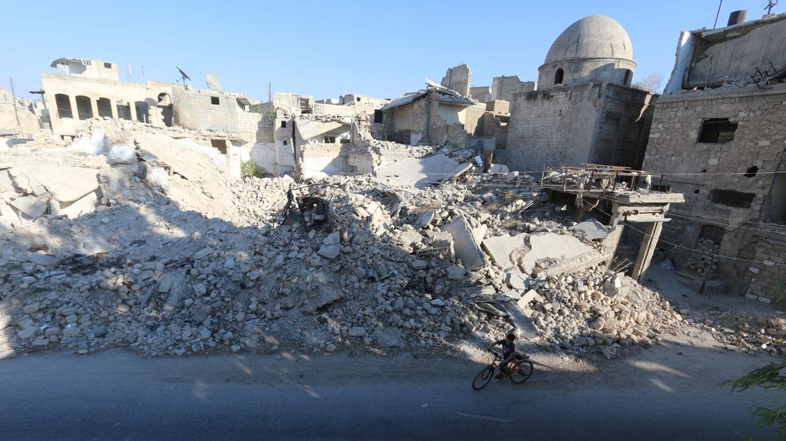 Zerstörte Gebäude in Syrien.