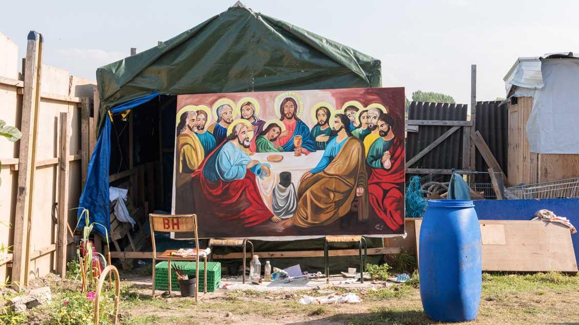 Bild des letzten Abendmahls, gemalt von dem äthiopischen Flüchtling Henok Tewodros, am 30. August 2016 im Flüchtlingslager im französischen Calais.
