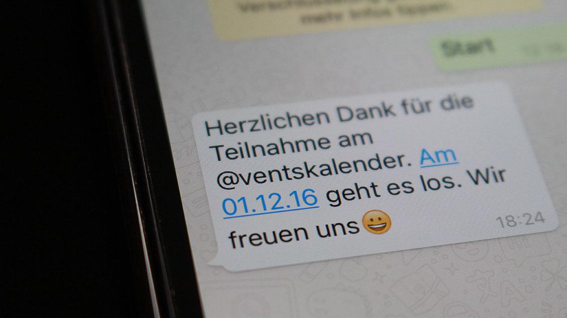 Wer sich unter der Handynummer 0157 36214134 über WhatsApp anmeldet, bekommt ab dem 1. Dezember kurze Advents-Impulse zugeschickt.