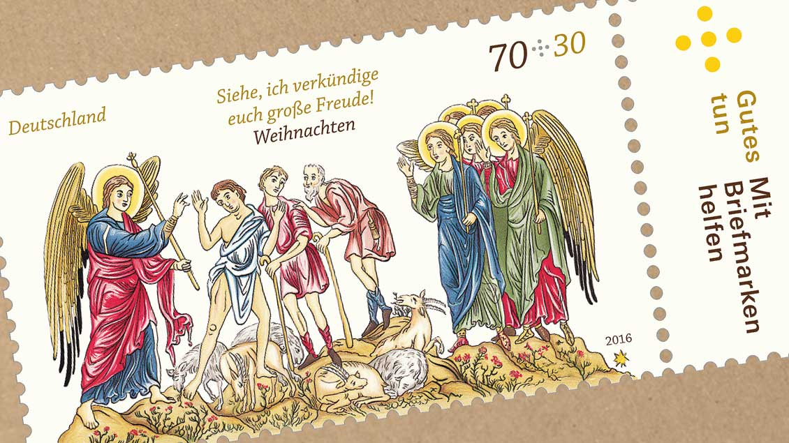 """Die Sonderbriefmarke """"Weihnachten 2016""""."""