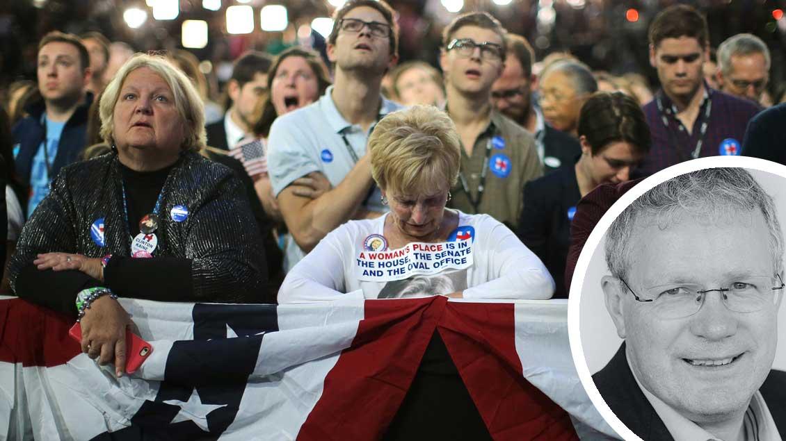 Entsetzen bei Anhängern von Präsidentschaftskandidatin Hillary Clinton nach dem Wahlsieg von Donald Trump.