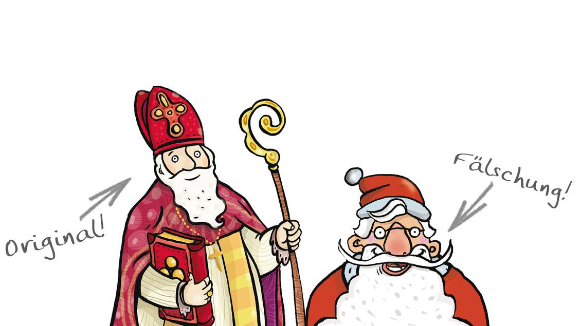Links das Original – rechts die Fälschung: Der heilige Nikolaus und der Weihnachtsmann.
