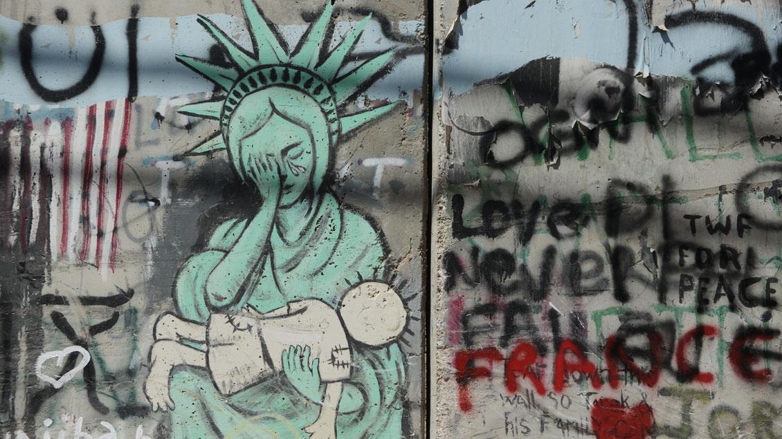 Graffiti an der Mauer zwischen Jerusalem und Bethlehem.