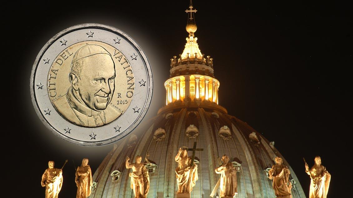 Kein Papstbild mehr auf Euro-Münzen. Foto: Michael Bönte/Montage: Markus Nolte