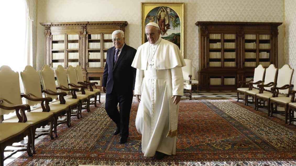 Palästinenserpräsident Mahmud Abbas und Papst Franziskus
