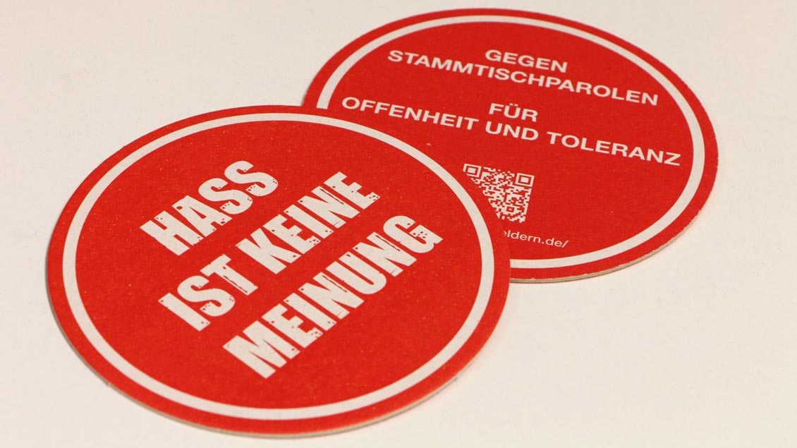 Die Aktions-Bierdeckel.