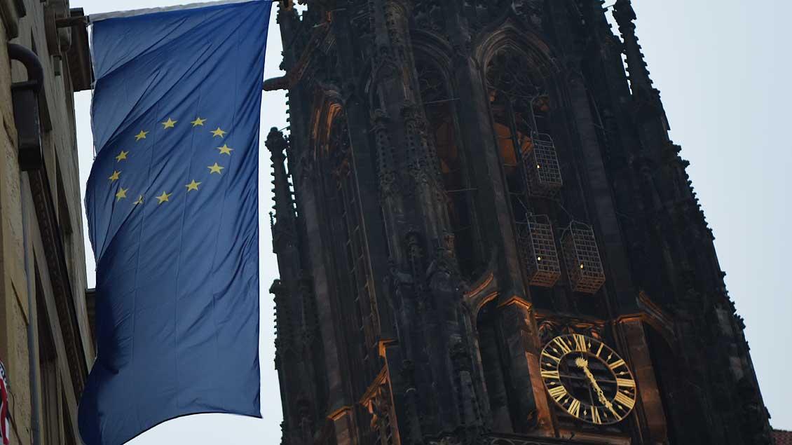 Münster hatte geflaggt: Die Kaufmannschaft auf dem Prinzipalmarkt hatte Europa-Fahnen aufgehängt. | Foto: Michael Bönte