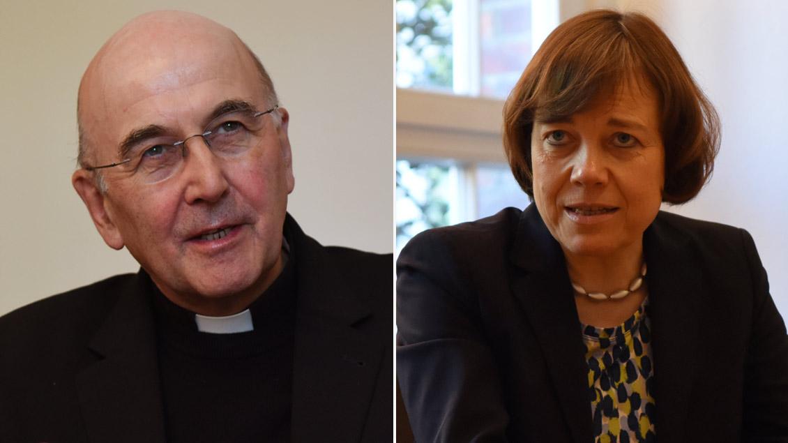 Bischof Felix Genn und Präses Annette Kurschus.