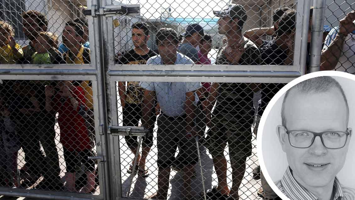Flüchtlinge in einem Camp auf der Insel Lesbos. Fotos: Reuters, Michael Bönte