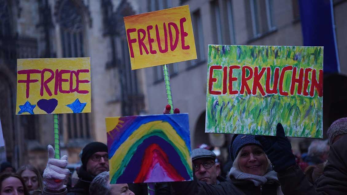 Friedlicher Protest im Februar 2017 gegen eine AfD-Veranstaltung im Münsteraner Rathaus.