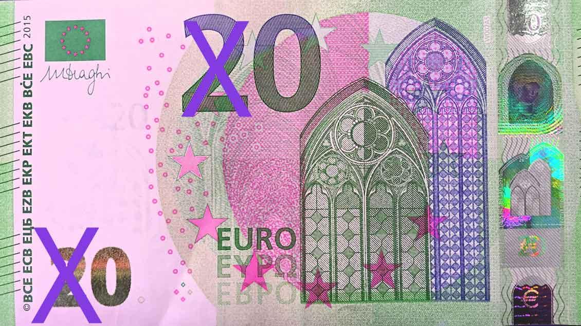 Grafisch veränderter Euro-Schein