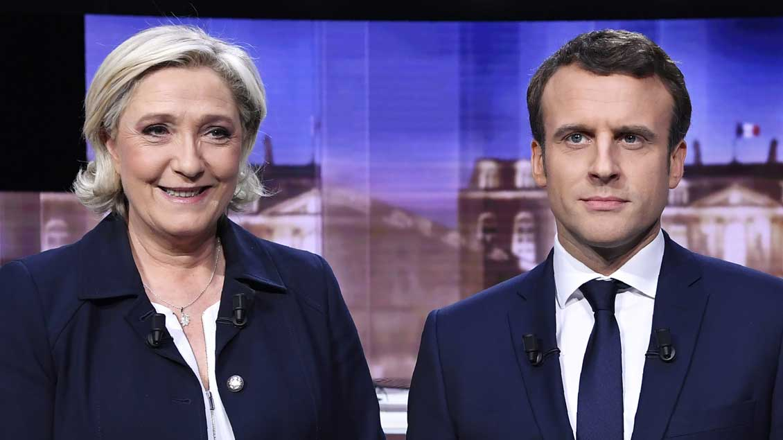 Kandidaten in der Präsidentschafts-Stichwahl: Marine Le Pen und Emmanuel Macron.