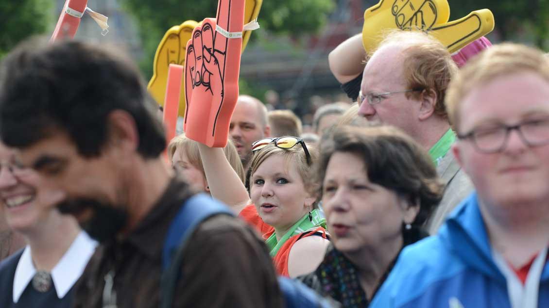 Teilnehmer beim Katholikentag in Leipzig.