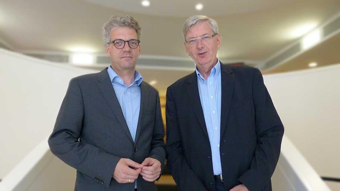 Stefan Nacke (links) mit seinem Vorgänger als Vorsitzender des Kolping-Landesverbands NRW, Karl Schiewerling.
