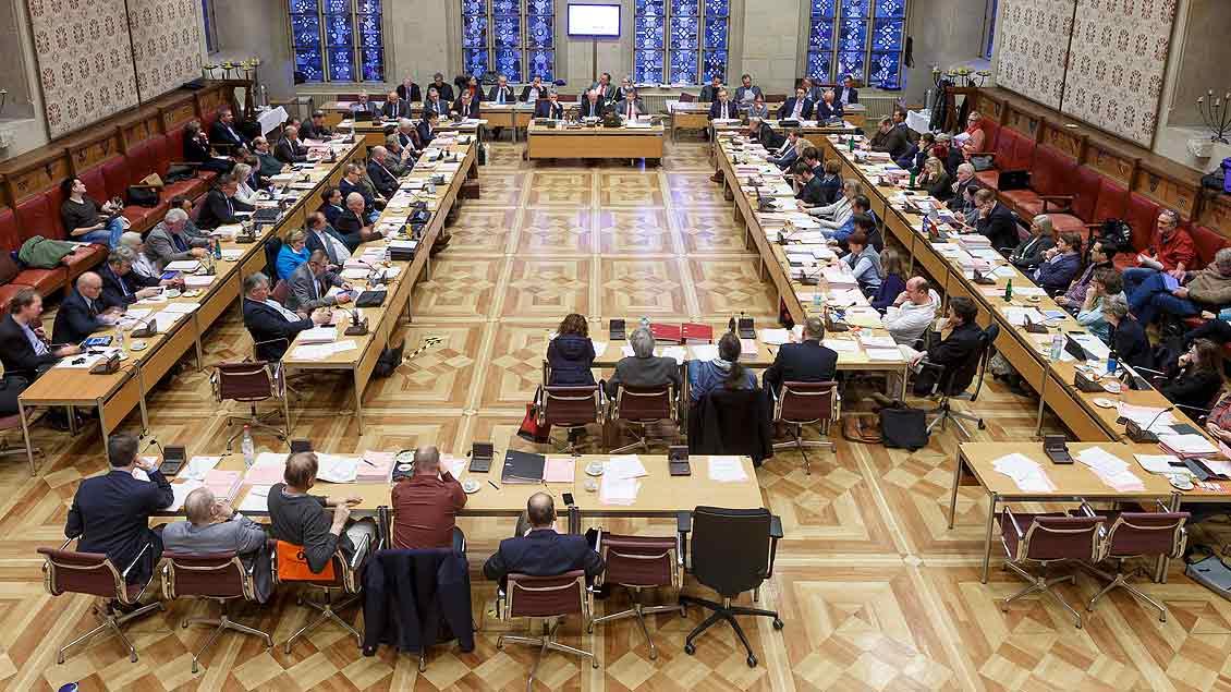 Sitzung des Stadtrats im Festsaal des Rathauses von Münster.
