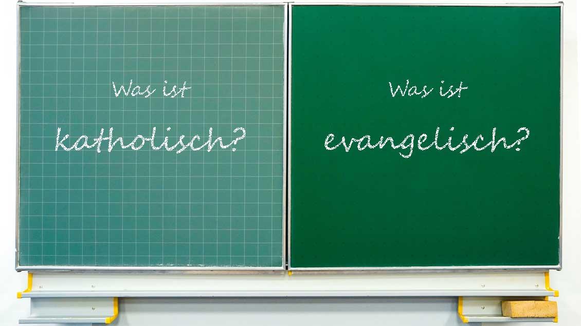 Was ist katholisch? Was ist evangelisch? Grafik: Martin Schmitz