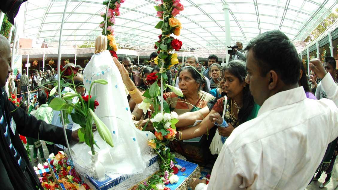 Die Verehrung der Mutter Maria steht für die Tamilen im Zentrum der Wallfahrt in Kevelaer.