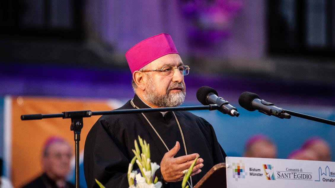 Der armenisch-katholische Erzbischof von Aleppo, Boutros Marayathi, verurteilte den Krieg in Syrien. | Foto: Christof Haverkamp