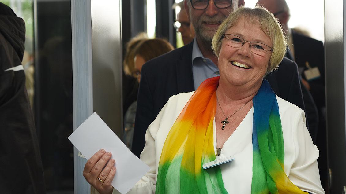 Notburga Heveling, Vorsitzende des Diözesankomitees der Katholiken im Bistum Münster, kam zum Weltfriedenstreffen. | Foto: Michael Bönte