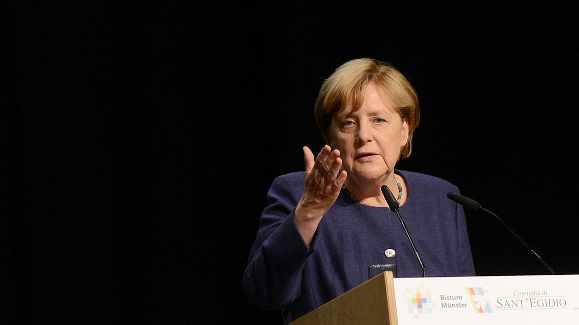 Angela Markel bei ihrer Rede in der Halle Münsterland. | Foto: Michael Bönte