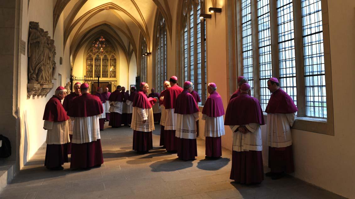 Die 67 Weih- und Ortsbischöfe der Deutschen Bischofskonferenz tagen ab heute bis Donnerstag in Fulda. Unser Bild entstand während der Vollversammlung 2014 in Münster.