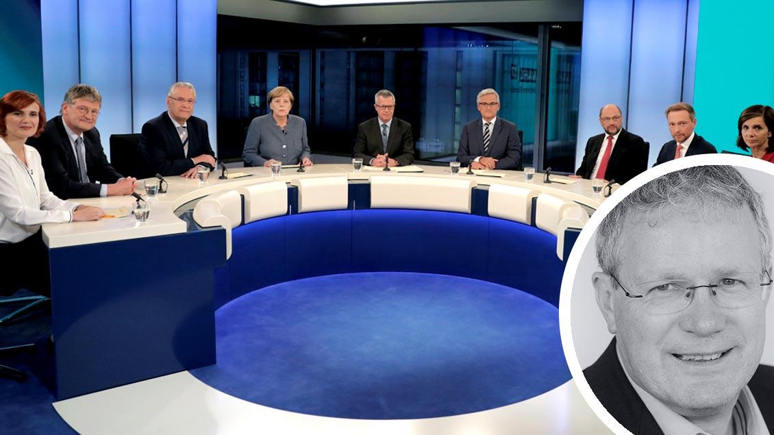 """Vertreter aller im neuen Bundestag vertretenen Parteien bei der TV-""""Elefantenrunde"""" am Wahlabend (von links): Katja Kipping (Linke), Jörg Meuthen (AfD), Joachim Herrmann (CSU), Angela Merkel (CDU), Gastgeber Rainald Becker (ARD) und Peter Frey (ZDF),"""