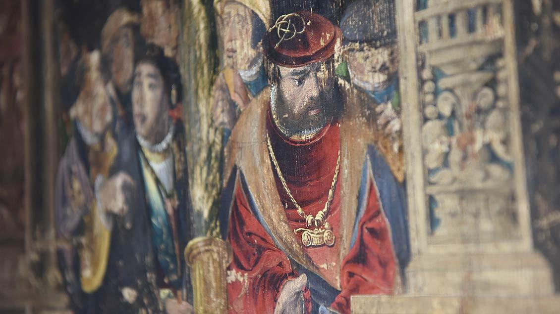 Verewigt: Bild des Künstlers Ludger tom Ring. Er bemalte die Uhr Mitte des 16. Jahrhunderts. | Foto: Michael Bönte