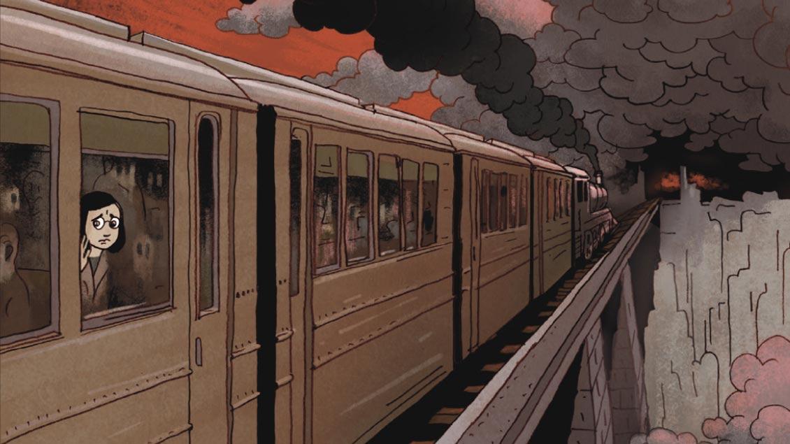 Anne Frank fährt in einem Zug einem düsteren Schicksal entgegen. Ausschnitt aus dem besprochenen Comic.