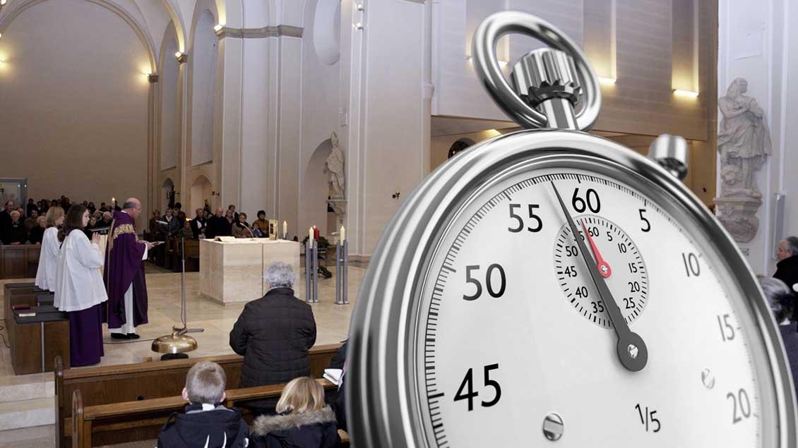 Gottesdienst mit Stoppuhr. Fotomontage: Martin Schmitz
