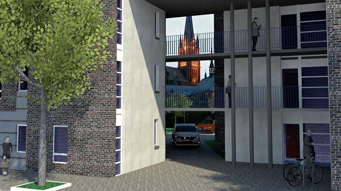 Blick durch die Toreinfahrt auf die Marienbasilika. Grafik: Architekt Jörg Bousart