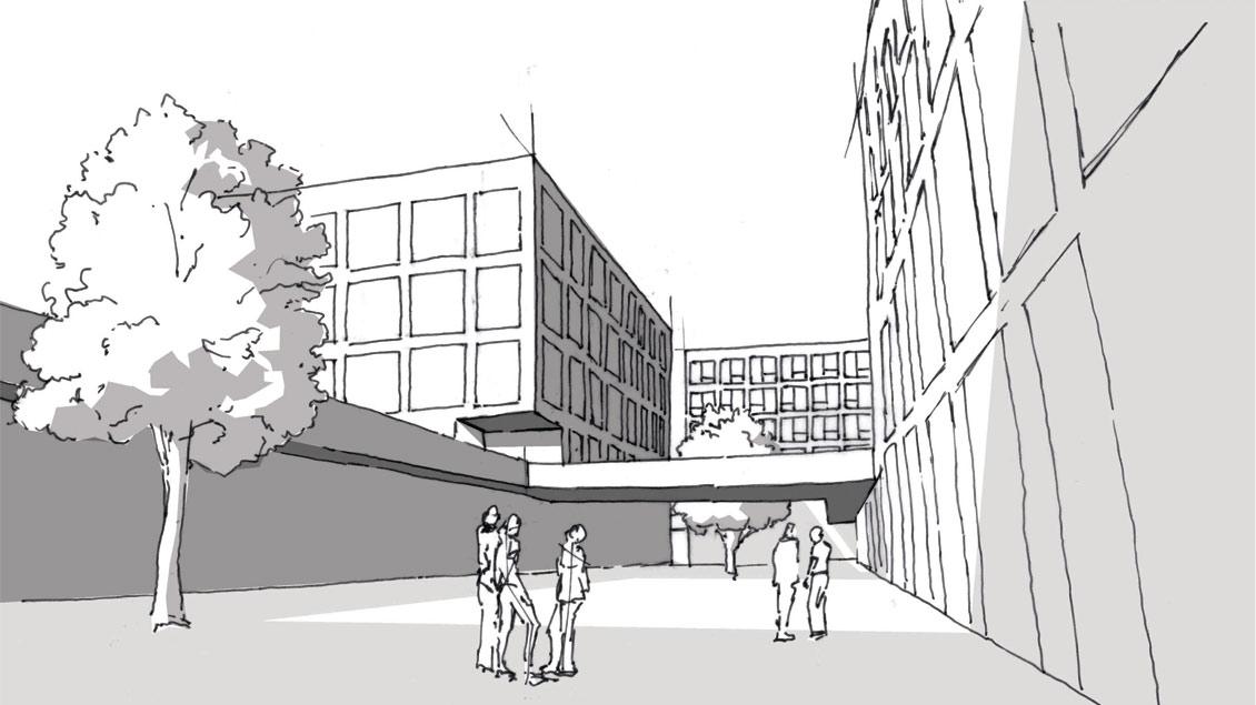 Skizze des Wohnheims Grafik: Hinle, Wischer und Partner