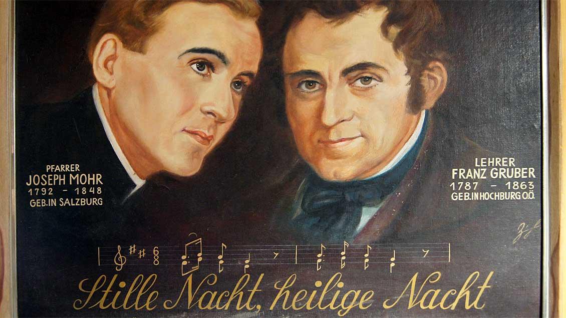 Joseph Mohr (links) und Franz Xaver Gruber.