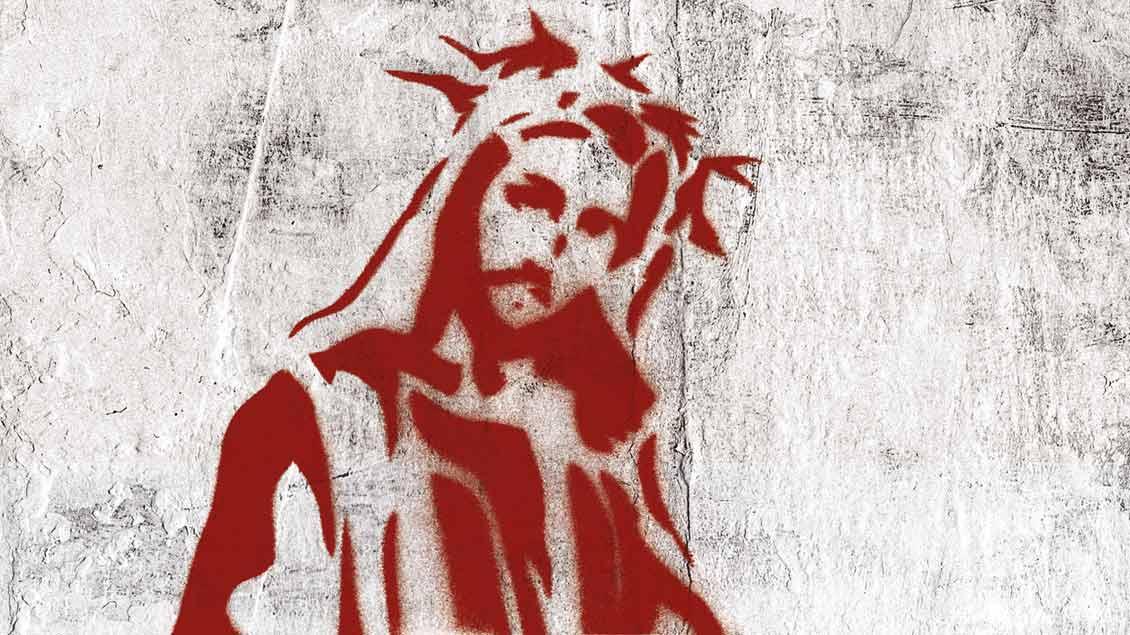 Die Kreuzweg-Bilder zeigen Elemente der Stencil-Art, einer Form der Straßenkunst.
