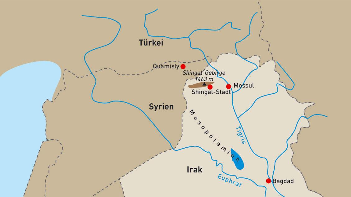 Stationen im Norden Iraks, die Domvikar Jochen Reidegeld für die  Aktion Hoffnungsschimmer besucht hat.